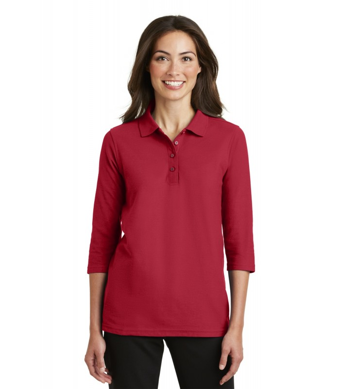 Port Authority Womens Silk Touch 3//4 Sleeve Sport Shirt XX-Large Red