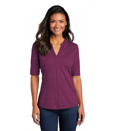 Ladies Pinpoint Mesh Zip Polo