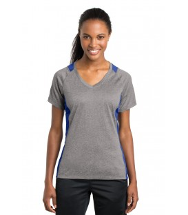 Ladies Heather Colorblock Contender V-Neck Tee